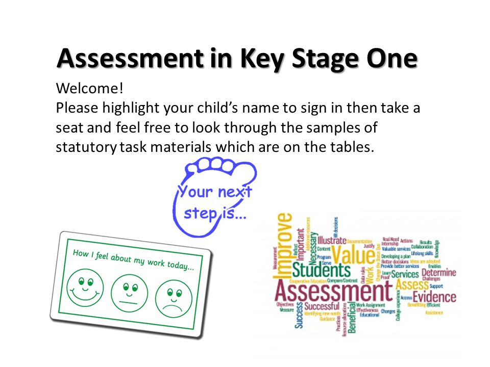 Assessment in Key Stage One Welcome.