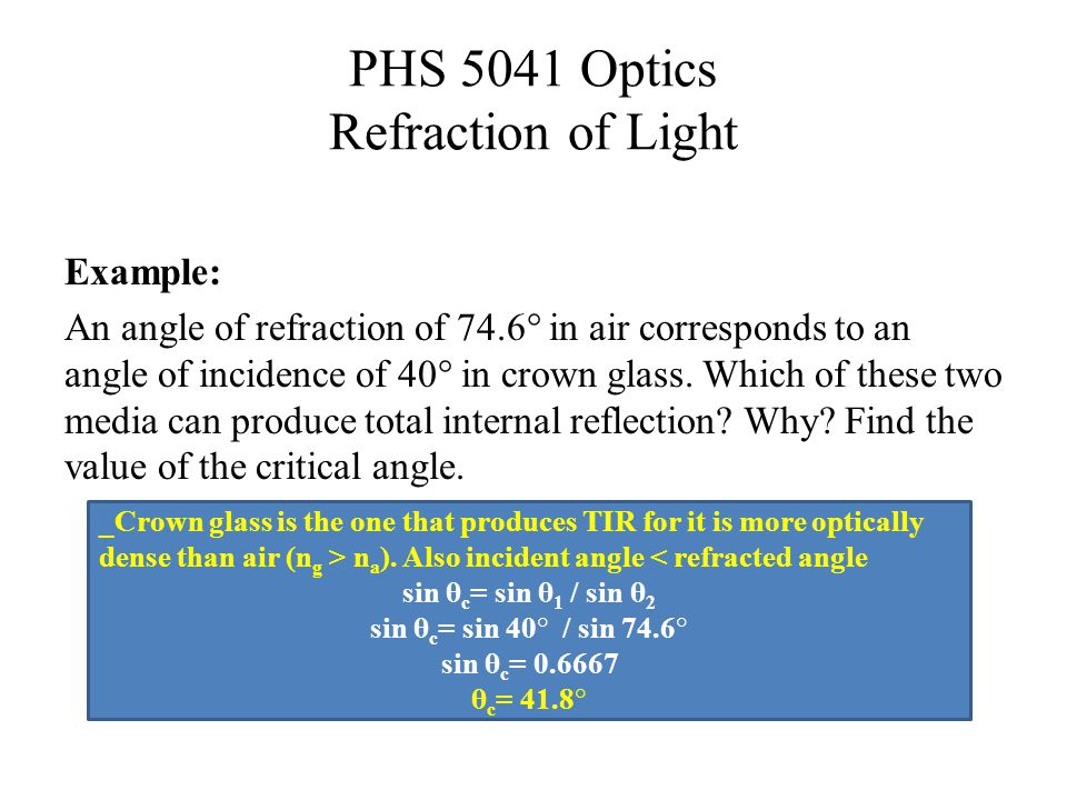 PHS 5041 Optics Refraction of Light Example: An angle of refraction of 74.6° in air corresponds to an angle of incidence of 40° in crown glass.
