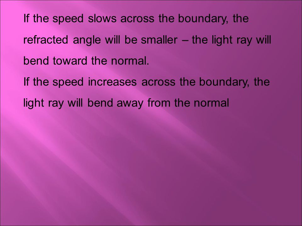 If the speed slows across the boundary, the refracted angle will be smaller – the light ray will bend toward the normal.