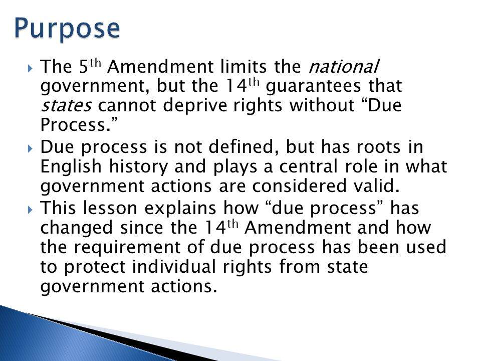 a comparison of the roles of the 5th and the 14th amendment Start studying due process - 14th amendment learn vocabulary, terms defendant argued there was a violation of due process because of the 5th amendment double.