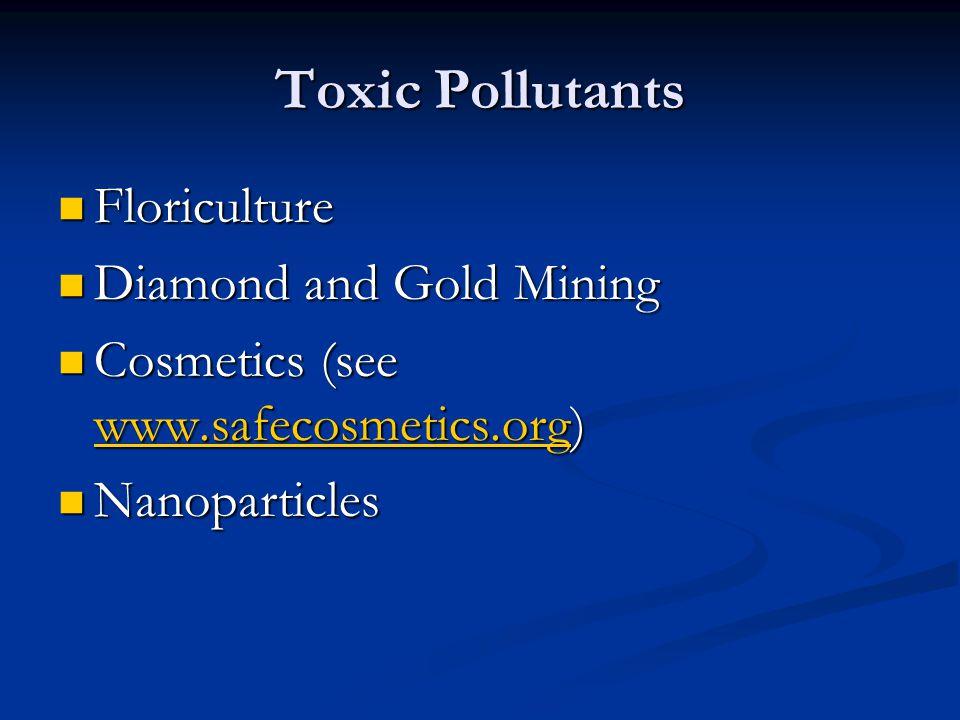 Toxic Pollutants Floriculture Floriculture Diamond and Gold Mining Diamond and Gold Mining Cosmetics (see www.safecosmetics.org) Cosmetics (see www.safecosmetics.org) www.safecosmetics.org Nanoparticles Nanoparticles