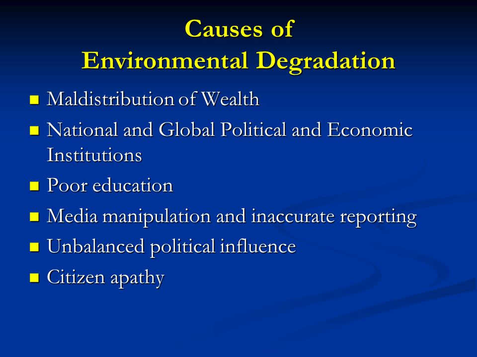 Causes of Environmental Degradation Maldistribution of Wealth Maldistribution of Wealth National and Global Political and Economic Institutions National and Global Political and Economic Institutions Poor education Poor education Media manipulation and inaccurate reporting Media manipulation and inaccurate reporting Unbalanced political influence Unbalanced political influence Citizen apathy Citizen apathy