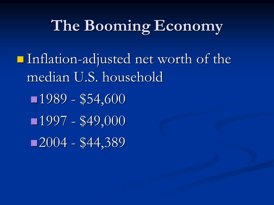The Booming Economy Inflation-adjusted net worth of the median U.S.