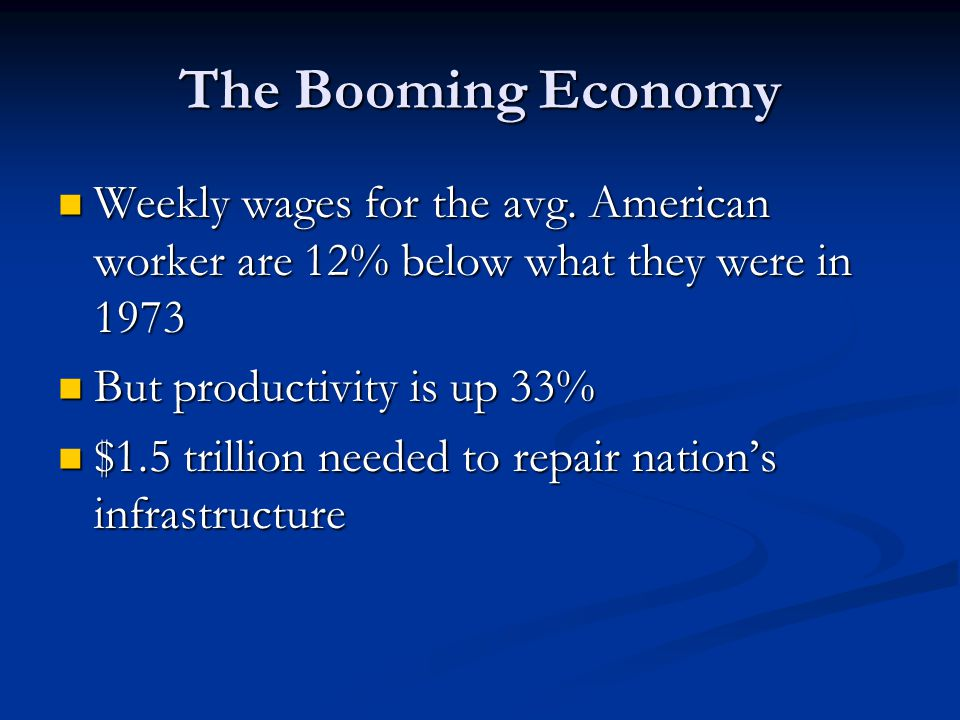 The Booming Economy Weekly wages for the avg.