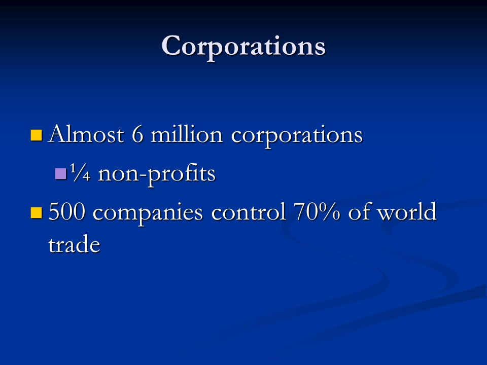 Corporations Almost 6 million corporations Almost 6 million corporations ¼ non-profits ¼ non-profits 500 companies control 70% of world trade 500 companies control 70% of world trade
