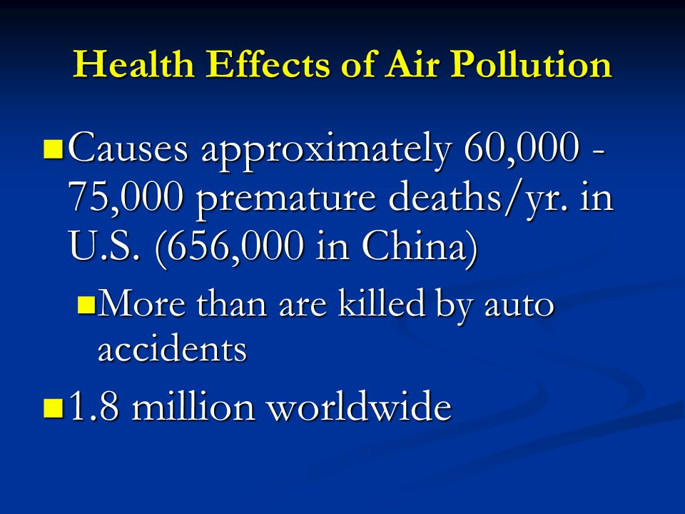 Health Effects of Air Pollution Causes approximately 60,000 - 75,000 premature deaths/yr.