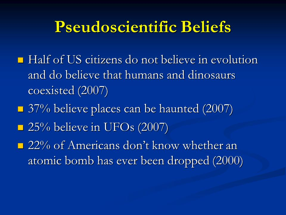 Pseudoscientific Beliefs Half of US citizens do not believe in evolution and do believe that humans and dinosaurs coexisted (2007) Half of US citizens do not believe in evolution and do believe that humans and dinosaurs coexisted (2007) 37% believe places can be haunted (2007) 37% believe places can be haunted (2007) 25% believe in UFOs (2007) 25% believe in UFOs (2007) 22% of Americans don't know whether an atomic bomb has ever been dropped (2000) 22% of Americans don't know whether an atomic bomb has ever been dropped (2000)