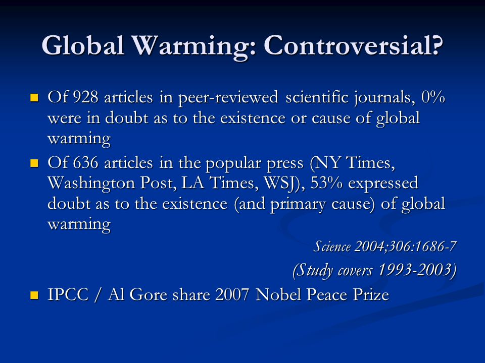 Global Warming: Controversial.