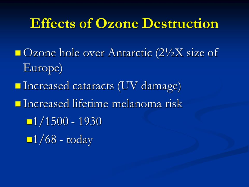 Effects of Ozone Destruction Ozone hole over Antarctic (2½X size of Europe) Ozone hole over Antarctic (2½X size of Europe) Increased cataracts (UV damage) Increased cataracts (UV damage) Increased lifetime melanoma risk Increased lifetime melanoma risk 1/1500 - 1930 1/1500 - 1930 1/68 - today 1/68 - today