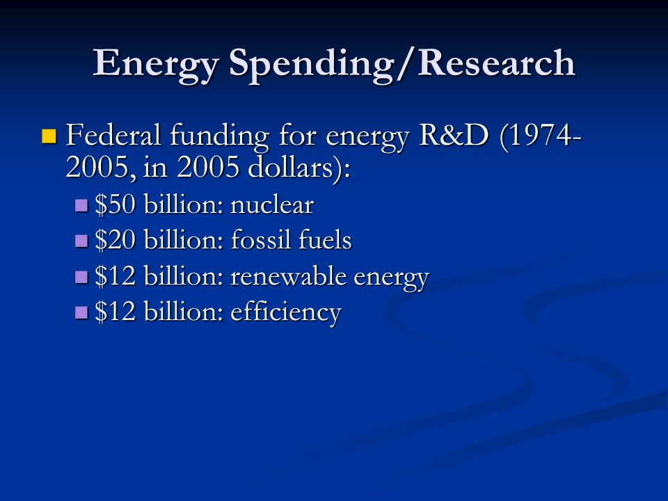 Energy Spending/Research Federal funding for energy R&D ( , in 2005 dollars): Federal funding for energy R&D ( , in 2005 dollars): $50 billion: nuclear $50 billion: nuclear $20 billion: fossil fuels $20 billion: fossil fuels $12 billion: renewable energy $12 billion: renewable energy $12 billion: efficiency $12 billion: efficiency