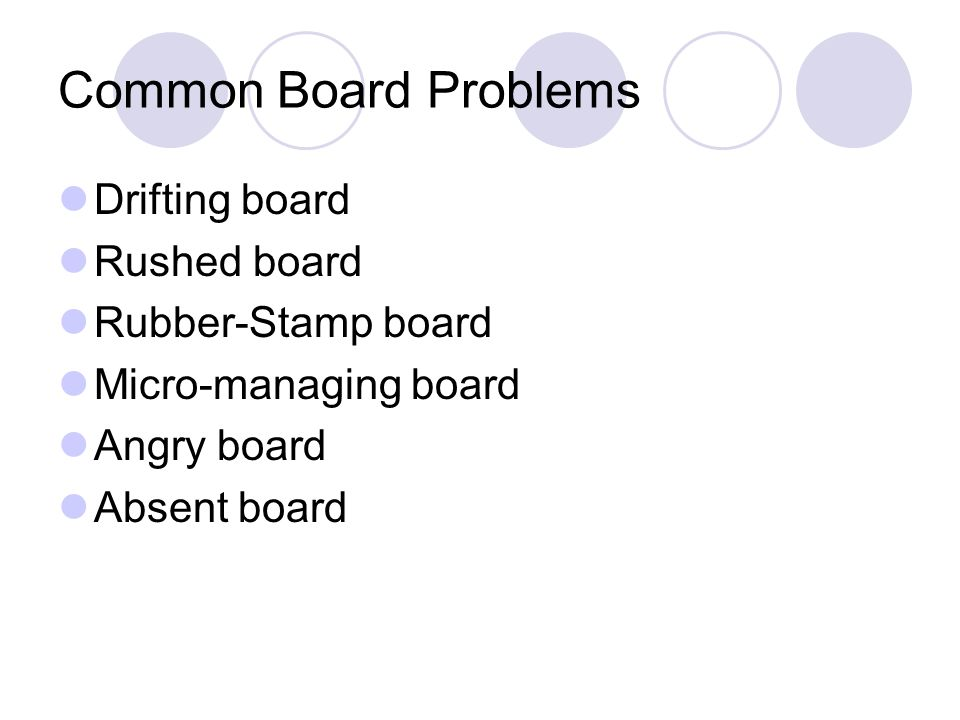 Common Board Problems Drifting board Rushed board Rubber-Stamp board Micro-managing board Angry board Absent board