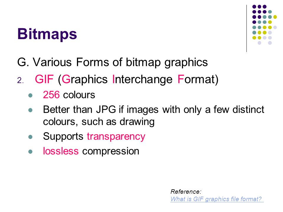 Bitmaps G. Various Forms of bitmap graphics 2.