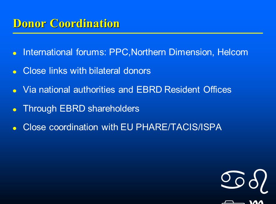    Donor Coordination International forums: PPC,Northern Dimension, Helcom Close links with bilateral donors Via national authorities and EBRD Resident Offices Through EBRD shareholders Close coordination with EU PHARE/TACIS/ISPA