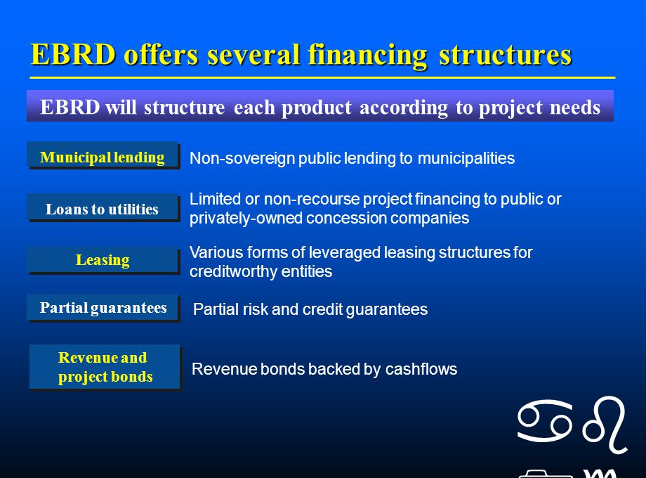    EBRD offers several financing structures Loans to utilities Municipal lending Leasing Partial guarantees Limited or non-recourse project financing to public or privately-owned concession companies Non-sovereign public lending to municipalities EBRD will structure each product according to project needs Various forms of leveraged leasing structures for creditworthy entities Partial risk and credit guarantees Revenue and project bonds Revenue bonds backed by cashflows