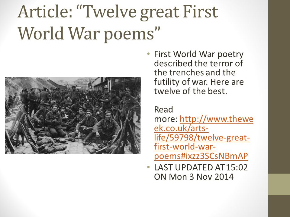 atittude towards war in the poem mametz wood owen sheers For someone to visit mametz wood in the present age, one has to have an interest in the fighting that took place in the first world war [1914-1918] so this poem is a creation of someone's thoughts after seeing the place for themselves.