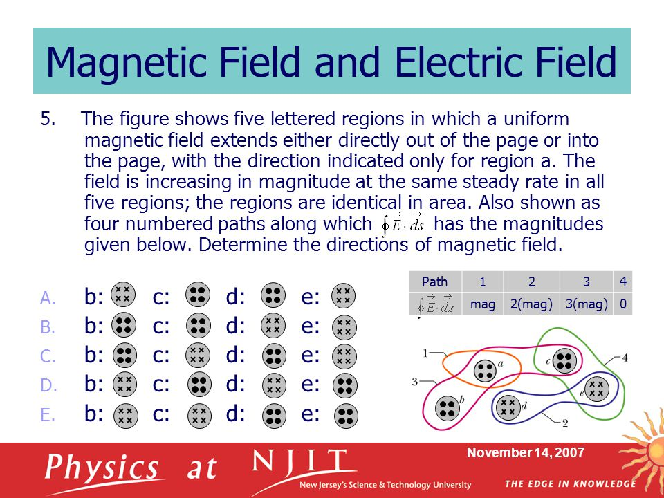 November 14, 2007 Magnetic Field and Electric Field 5.