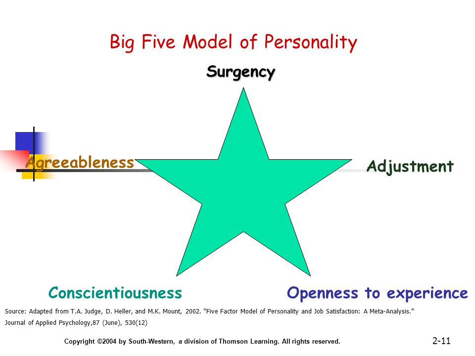 Copyright ©2004 by South-Western, a division of Thomson Learning. All rights reserved. 2-11 Big Five Model of Personality Surgency Adjustment Agreeabl