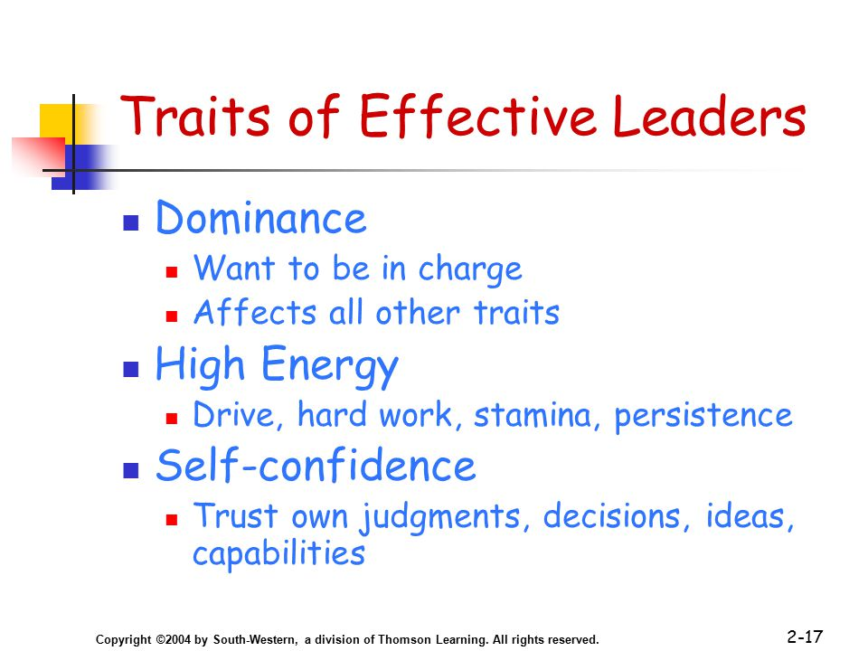 Copyright ©2004 by South-Western, a division of Thomson Learning. All rights reserved. 2-17 Traits of Effective Leaders Dominance Want to be in charge