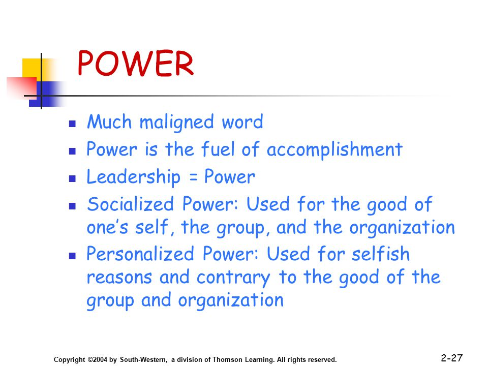 Copyright ©2004 by South-Western, a division of Thomson Learning. All rights reserved. 2-27 POWER Much maligned word Power is the fuel of accomplishme