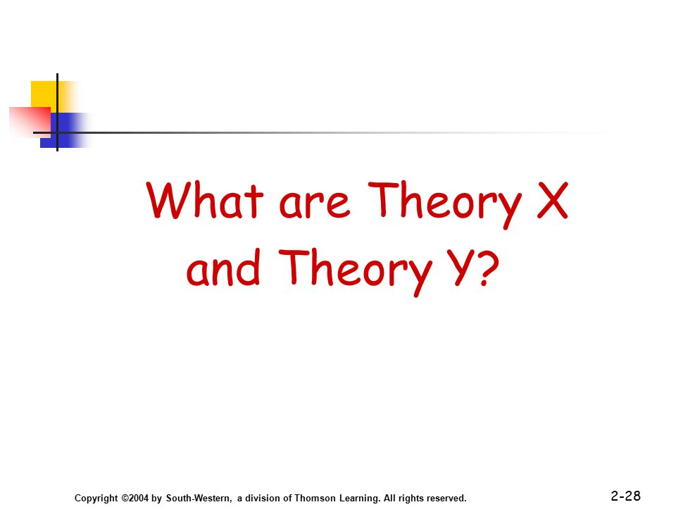 Copyright ©2004 by South-Western, a division of Thomson Learning. All rights reserved. 2-28 What are Theory X and Theory Y?