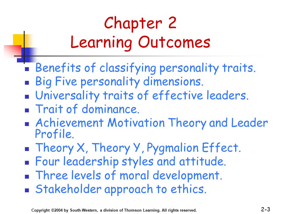 Copyright ©2004 by South-Western, a division of Thomson Learning. All rights reserved. 2-3 Chapter 2 Learning Outcomes Benefits of classifying persona