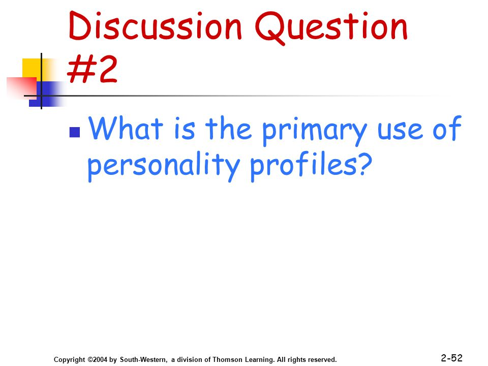 Copyright ©2004 by South-Western, a division of Thomson Learning. All rights reserved. 2-52 Discussion Question #2 What is the primary use of personal