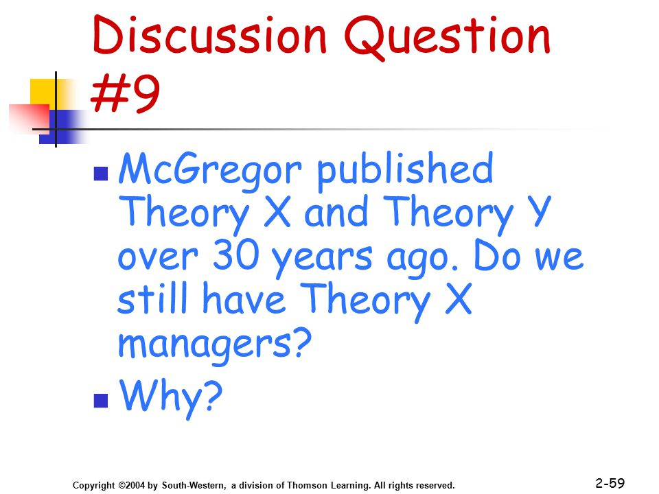 Copyright ©2004 by South-Western, a division of Thomson Learning. All rights reserved. 2-59 Discussion Question #9 McGregor published Theory X and The