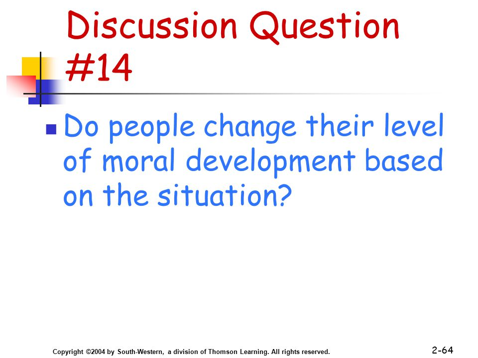 Copyright ©2004 by South-Western, a division of Thomson Learning. All rights reserved. 2-64 Discussion Question #14 Do people change their level of mo