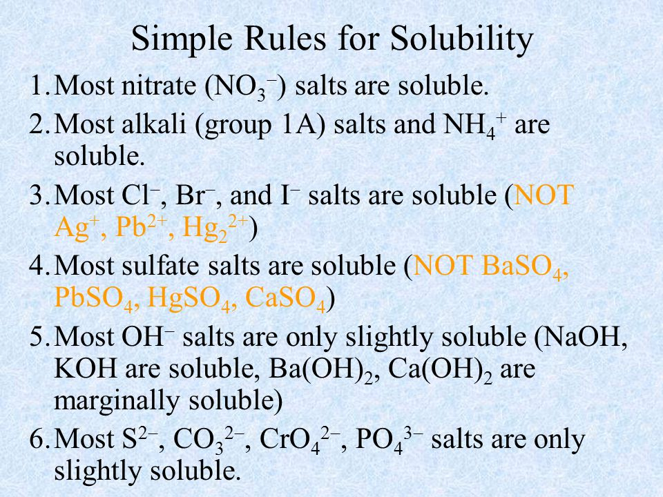 Simple Rules for Solubility 1.Most nitrate (NO 3  ) salts are soluble.