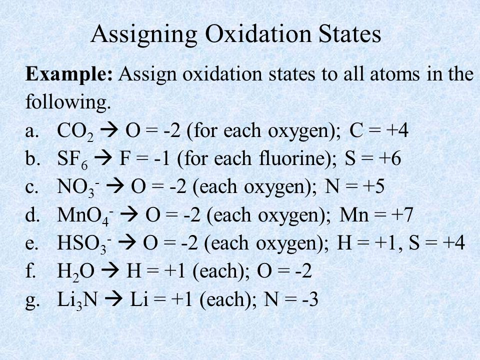 Assigning Oxidation States Example: Assign oxidation states to all atoms in the following.