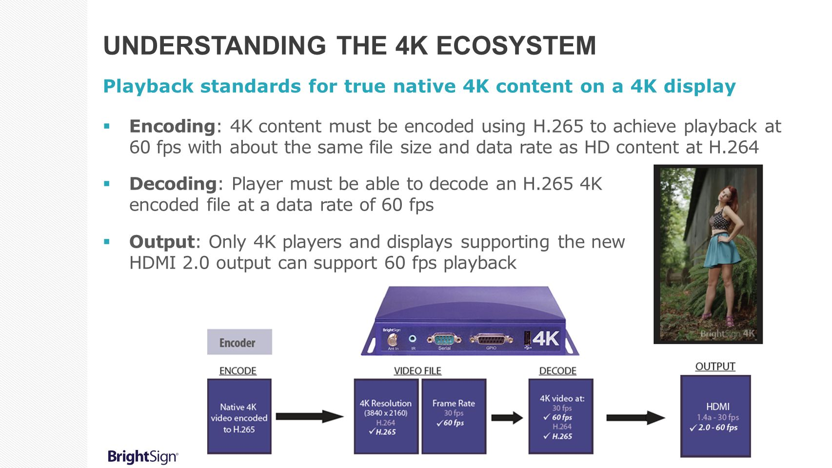 UNDERSTANDING THE 4K ECOSYSTEM Playback standards for true native 4K content on a 4K display  Encoding: 4K content must be encoded using H.265 to achieve playback at 60 fps with about the same file size and data rate as HD content at H.264  Decoding: Player must be able to decode an H.265 4K encoded file at a data rate of 60 fps  Output: Only 4K players and displays supporting the new HDMI 2.0 output can support 60 fps playback