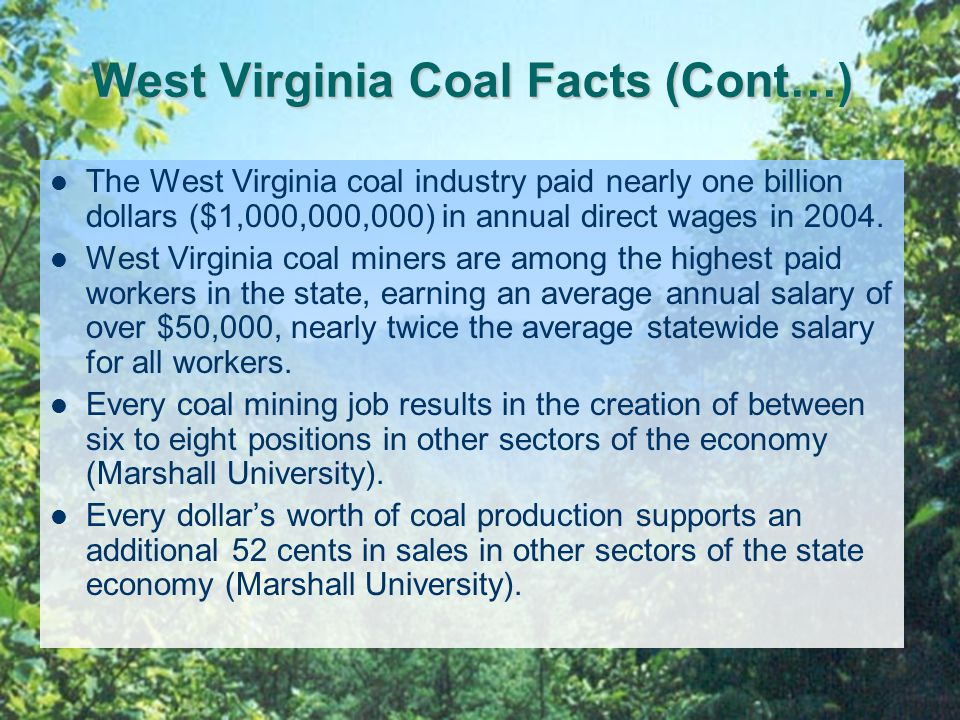 West Virginia Coal Facts (Cont…) The West Virginia coal industry paid nearly one billion dollars ($1,000,000,000) in annual direct wages in 2004.