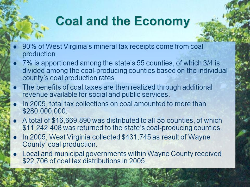 Coal and the Economy 90% of West Virginia's mineral tax receipts come from coal production.
