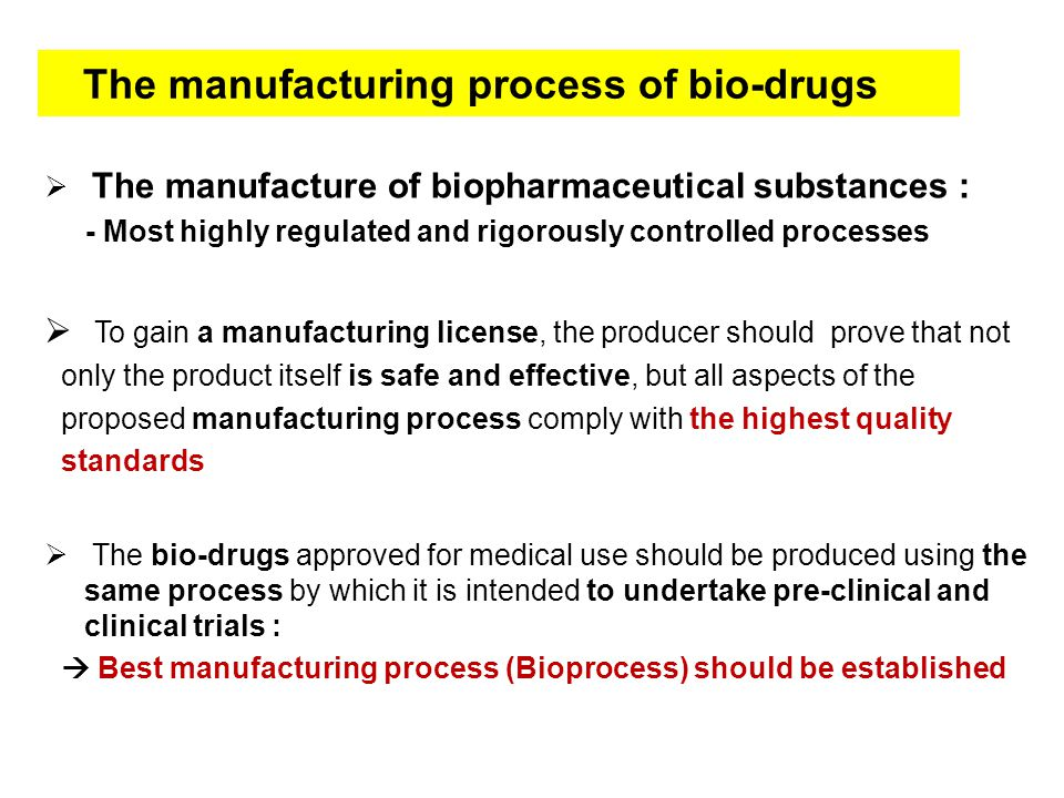 The manufacturing process of bio-drugs  The manufacture of ...