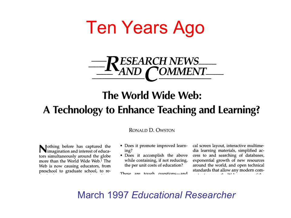 2 ten years ago march 1997 educational researcher - Web Researcher