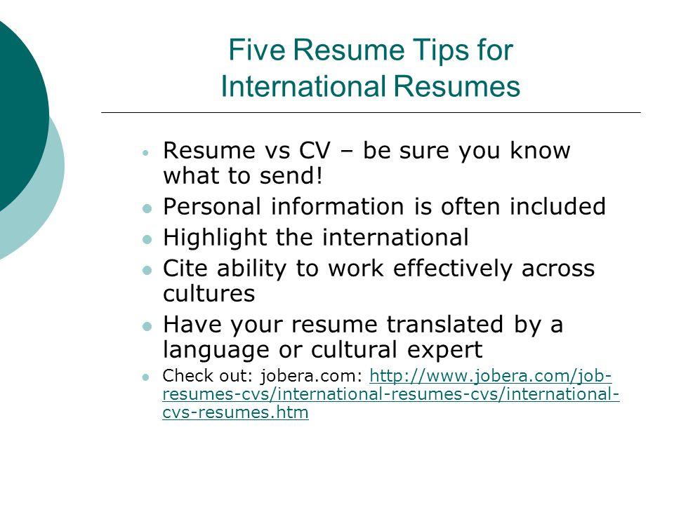 international resumes