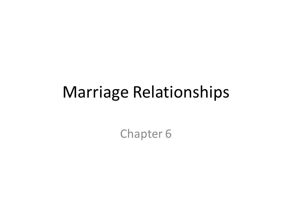Marriage Relationships Chapter 6
