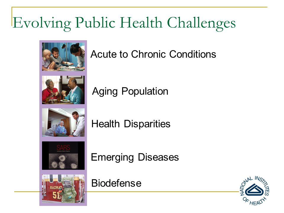 Acute to Chronic Conditions Evolving Public Health Challenges Health Disparities Emerging Diseases Aging Population Biodefense