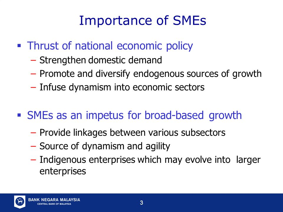 3 Importance of SMEs  Thrust of national economic policy –Strengthen domestic demand –Promote and diversify endogenous sources of growth –Infuse dynamism into economic sectors  SMEs as an impetus for broad-based growth –Provide linkages between various subsectors –Source of dynamism and agility –Indigenous enterprises which may evolve into larger enterprises