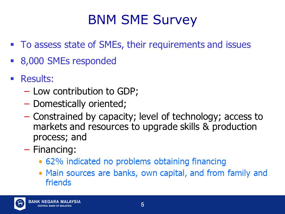 5 BNM SME Survey  To assess state of SMEs, their requirements and issues  8,000 SMEs responded  Results: –Low contribution to GDP; –Domestically oriented; –Constrained by capacity; level of technology; access to markets and resources to upgrade skills & production process; and –Financing: 62% indicated no problems obtaining financing Main sources are banks, own capital, and from family and friends