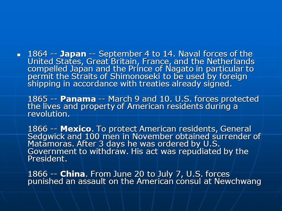 1864 -- Japan -- September 4 to 14.