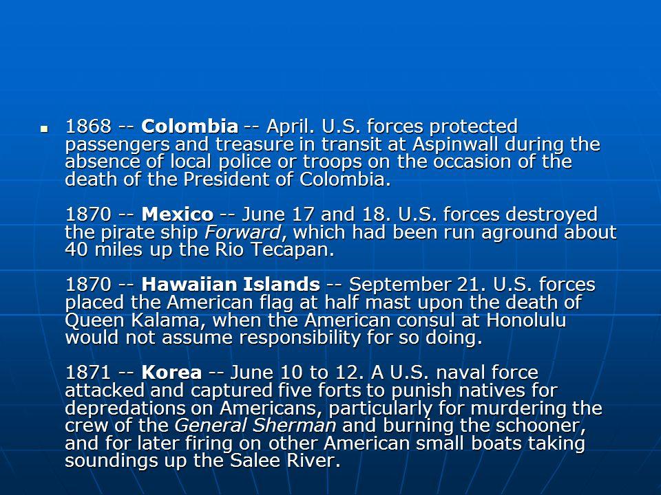 1868 -- Colombia -- April. U.S.