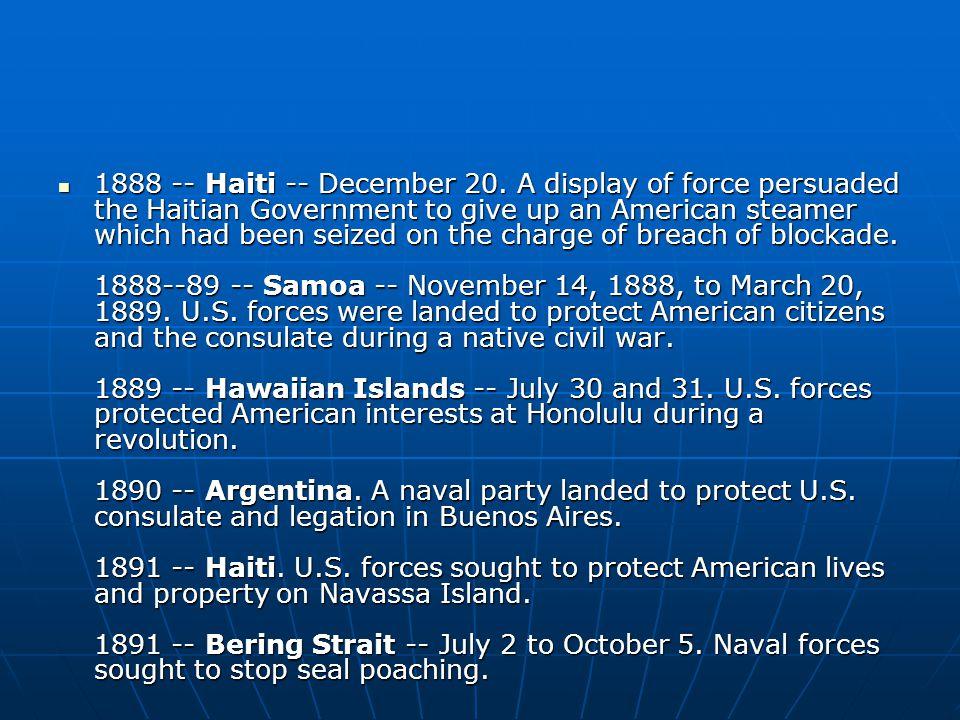1888 -- Haiti -- December 20.
