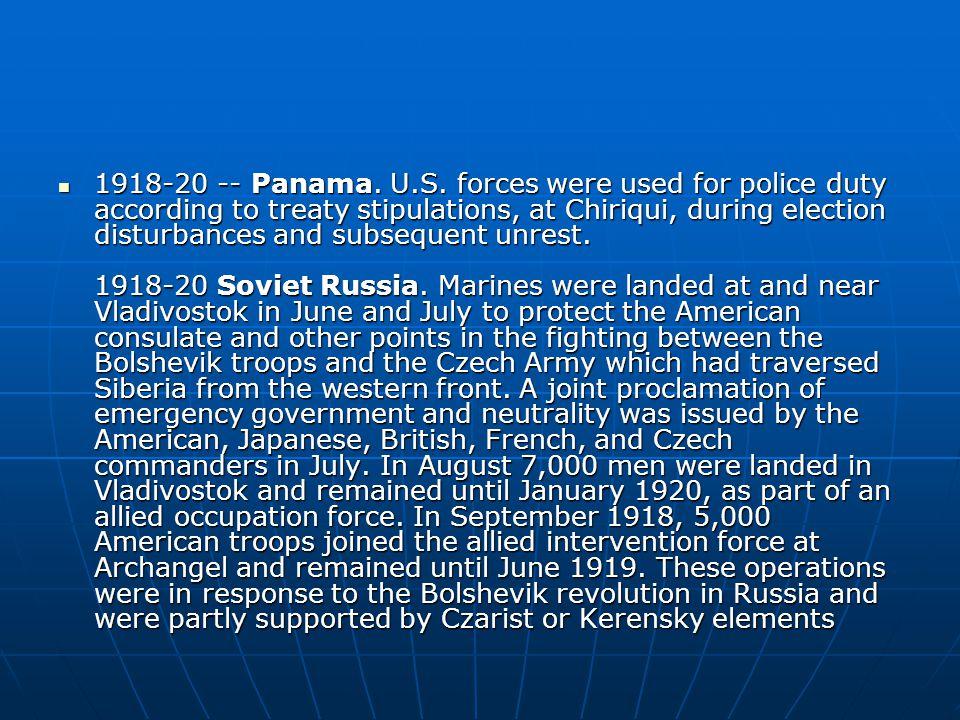 1918-20 -- Panama. U.S.