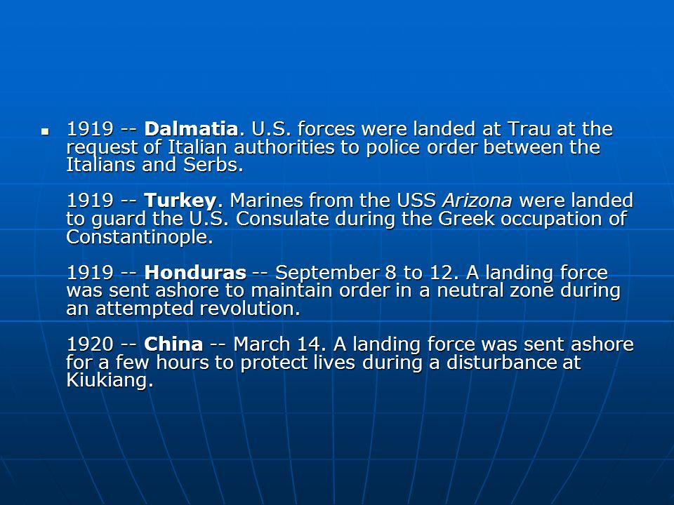 1919 -- Dalmatia. U.S.