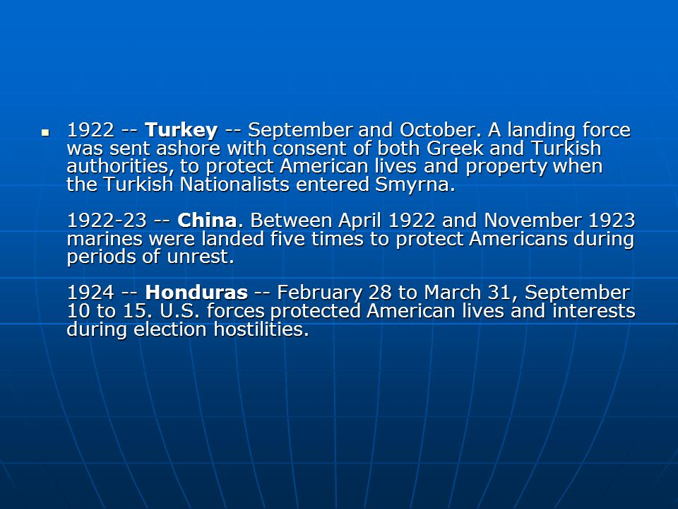 Turkey -- September and October.