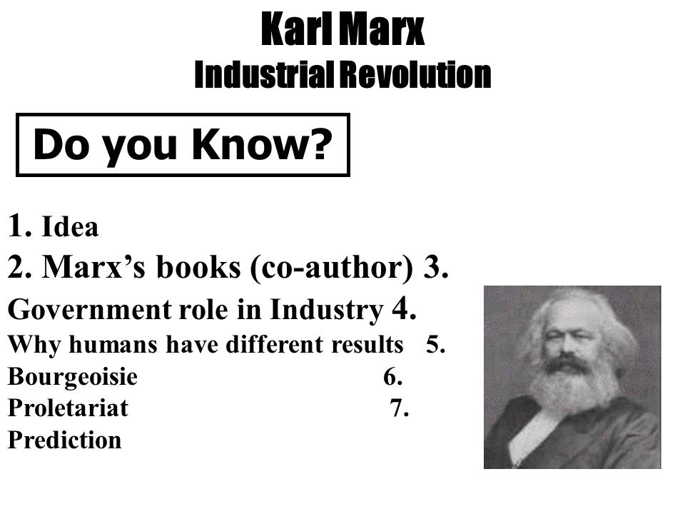 Karl Marx Industrial Revolution Do you Know. 1. Idea 2.