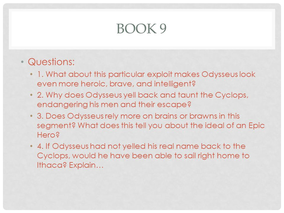 Questions on The Odyssey? 10 points for most detailed answer!!!?