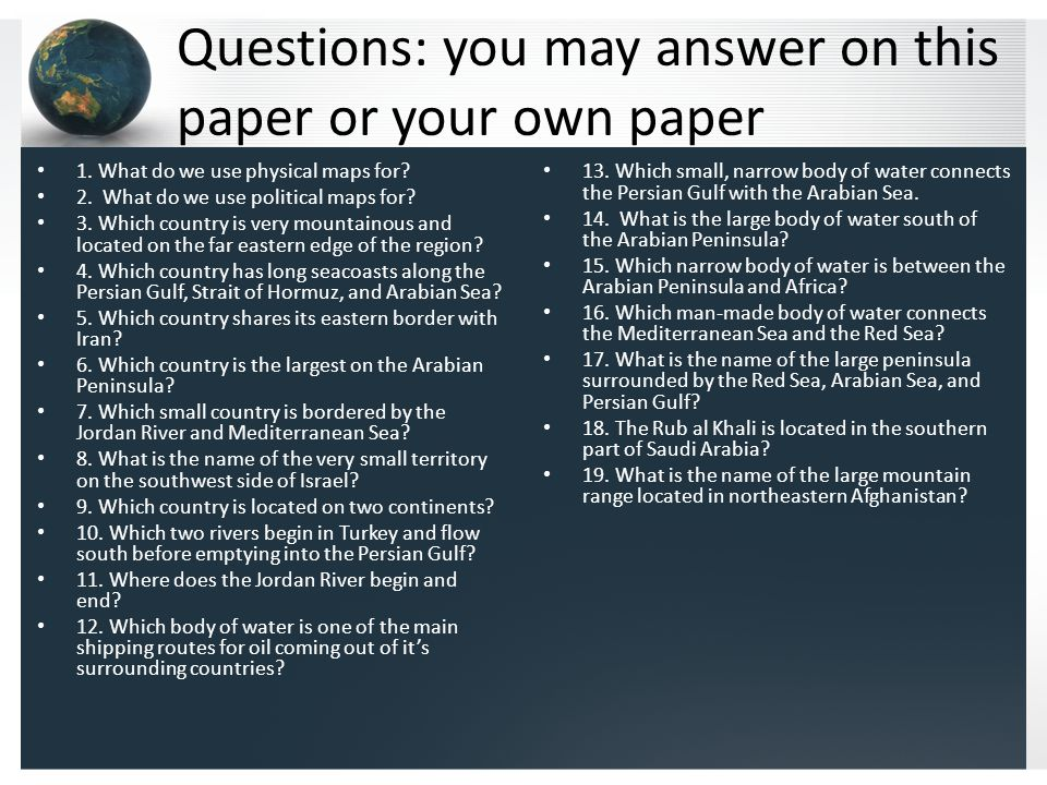 Questions: you may answer on this paper or your own paper 1.
