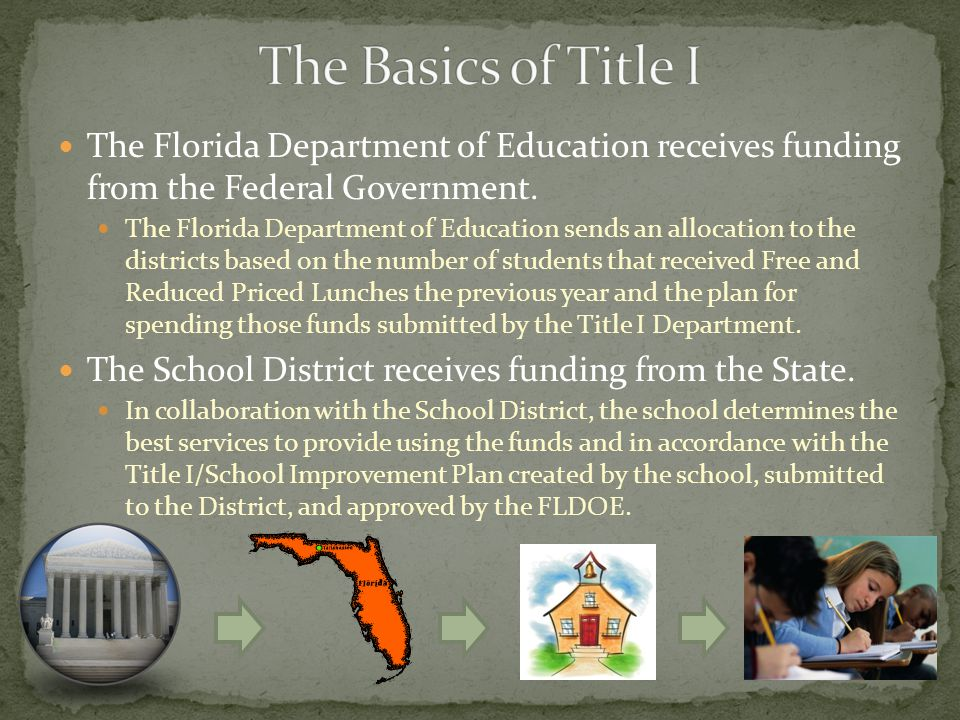 The Florida Department of Education receives funding from the Federal Government.